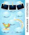 surreal sky with swing  bird... | Shutterstock .eps vector #1121162582