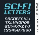sci fi futuristic font alphabet ... | Shutterstock .eps vector #1121185802