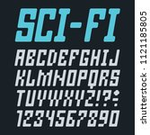 sci fi futuristic font alphabet ... | Shutterstock .eps vector #1121185805
