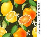 seamless pattern with lemons | Shutterstock .eps vector #1121188805
