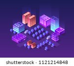 isometric city set of violet... | Shutterstock .eps vector #1121214848