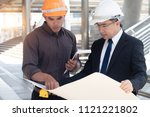foreman construction engineer... | Shutterstock . vector #1121221802