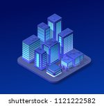 isometric city set of violet... | Shutterstock .eps vector #1121222582
