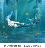 fantasy mermaid swims in the... | Shutterstock . vector #1121245418