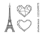 eiffel tower and polygonal... | Shutterstock .eps vector #1121249975