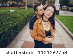 beautiful couple hugging in the ... | Shutterstock . vector #1121262758