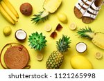 stylish rattan bag  coconut ... | Shutterstock . vector #1121265998