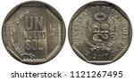 peru peruvian coin 1 one new... | Shutterstock . vector #1121267495