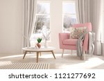 white room with armchair and... | Shutterstock . vector #1121277692