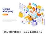 online shopping modern flat... | Shutterstock .eps vector #1121286842