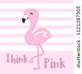 cute pink cartoon flamingo... | Shutterstock .eps vector #1121287505
