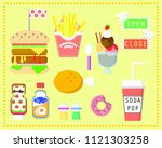 the fast food set with... | Shutterstock .eps vector #1121303258