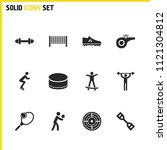 exercise icons set with washer...