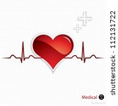 heart and heartbeat symbol... | Shutterstock .eps vector #112131722