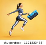 go to training. sporty woman... | Shutterstock . vector #1121333495