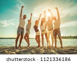 happiness friends stay with... | Shutterstock . vector #1121336186