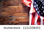 american flag on wooden... | Shutterstock . vector #1121338352