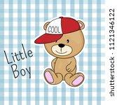 cute cartoon bear in cap with... | Shutterstock .eps vector #1121346122