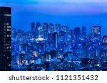 night view of tokyo urban area...   Shutterstock . vector #1121351432