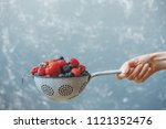 mix of washed fresh juicy... | Shutterstock . vector #1121352476
