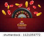 casino roulette with chips and...   Shutterstock .eps vector #1121353772