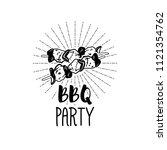 shish kebab icon. bbq party... | Shutterstock .eps vector #1121354762