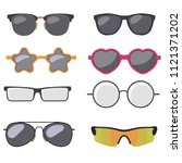 sunglasses set  summer eyewear... | Shutterstock .eps vector #1121371202