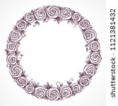 floral wreath. rose flowers...   Shutterstock . vector #1121381432
