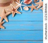 beach summer starfish...   Shutterstock . vector #1121384666