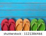 flip flops in a row old...   Shutterstock . vector #1121386466