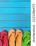 flip flops in a row old...   Shutterstock . vector #1121386472