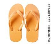 flip flop beach shoes yellow...   Shutterstock . vector #1121389898