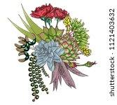 exotic bouquet set. flowers.... | Shutterstock .eps vector #1121403632