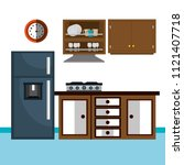 kitchen modern scene icons | Shutterstock .eps vector #1121407718