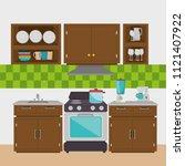 kitchen modern scene icons | Shutterstock .eps vector #1121407922
