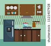 kitchen modern scene icons | Shutterstock .eps vector #1121407928