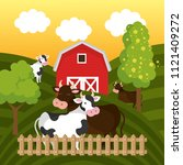 cows in the farm scene | Shutterstock .eps vector #1121409272