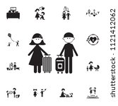 couple in love with suitcases... | Shutterstock .eps vector #1121412062