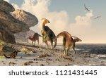 Three Parasaurolophus Stand On...