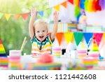 kids birthday party. child...   Shutterstock . vector #1121442608