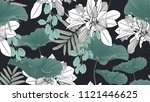 botanical seamless pattern ... | Shutterstock .eps vector #1121446625