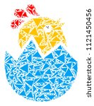hatch chick mosaic of triangle... | Shutterstock .eps vector #1121450456
