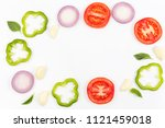top view of fruits and...   Shutterstock . vector #1121459018