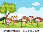 children playing musical... | Shutterstock .eps vector #1121460125