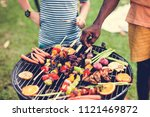 diverse people enjoying... | Shutterstock . vector #1121469872