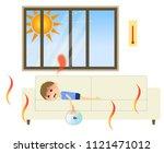 a boy with heat stroke   Shutterstock .eps vector #1121471012
