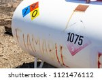 propane tank labeled with... | Shutterstock . vector #1121476112