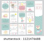 cute monthly calendar 2019 with ... | Shutterstock .eps vector #1121476688