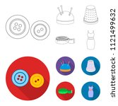 pincushion with pins  thimble ...   Shutterstock .eps vector #1121499632
