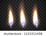 realistic flame candles with... | Shutterstock .eps vector #1121511458